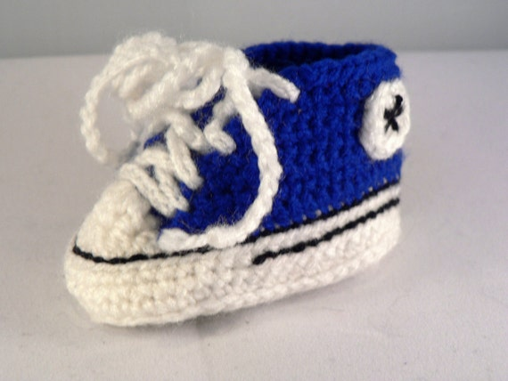 Converse style baby booties Chuck Taylor type inspired crochet shoes multi colour