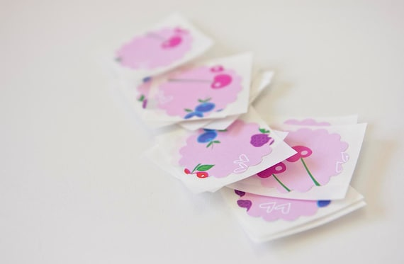 Strawberry & Cherry Pink Gift Wrap Stickers Envelope Seals
