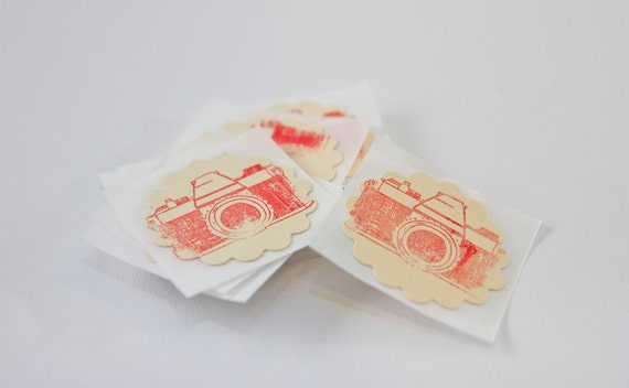 Retro Red Camera Stamped Gift Wrap Stickers Wedding Envelope Seals