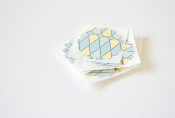 Yellow, Blue & Green Geometric Pattern Gift Wrap Stickers Envelope Seals