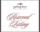 Reserved Listing - Megan