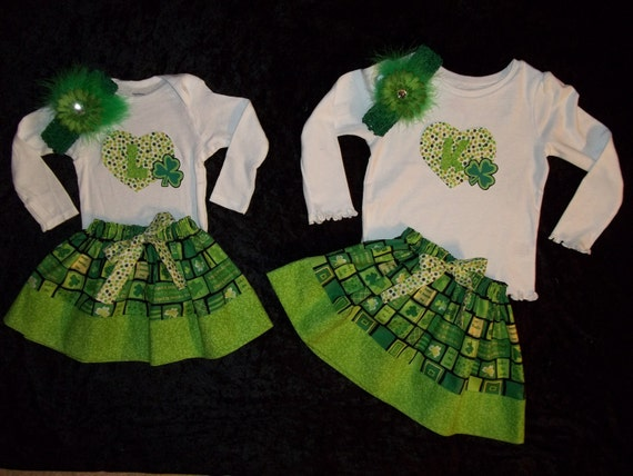St Patricks Day Dress Outfit Onesie Baby Girl Toddler Size