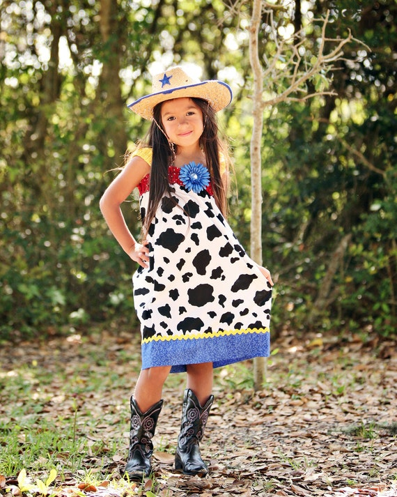 cowgirl Dress baby girl Jessie outfit Barnyard Birthday Farm animals girls Toy Story Disney twins toddler bow 3 6 912 18 m 2t 3t 4t 5 6 7 8