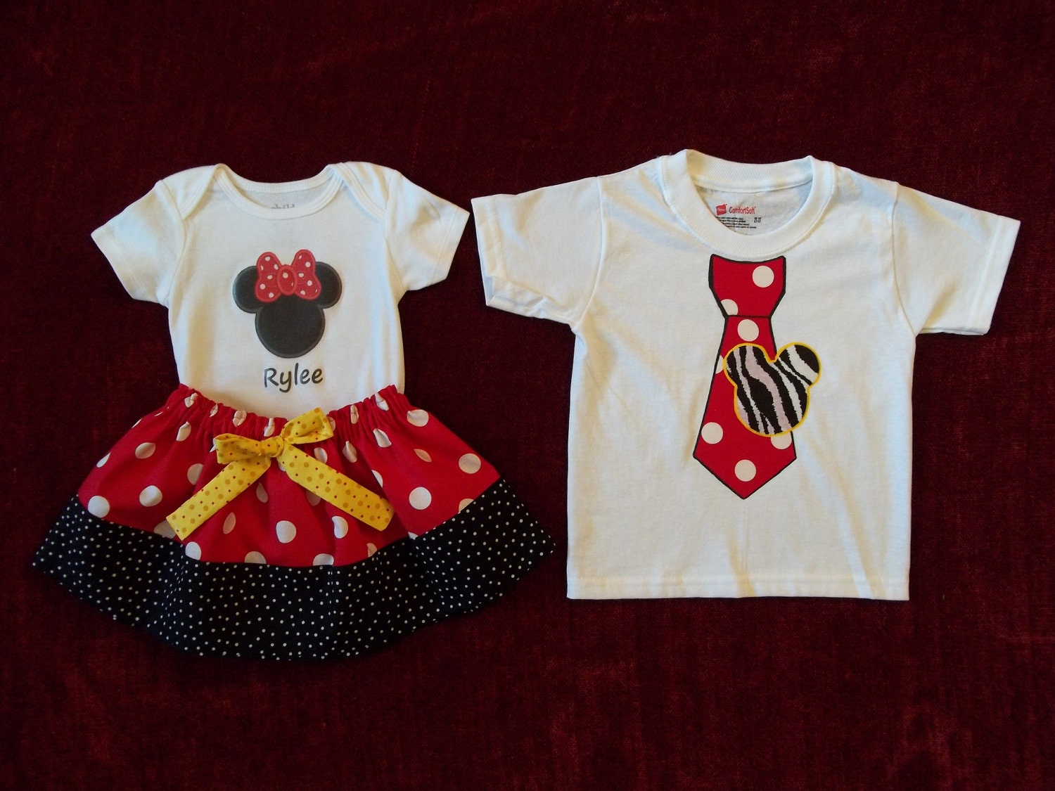 Disney Shirt Minnie Mickey Mouse 1st Birthday Onesie Little