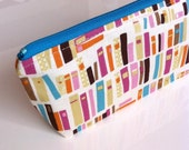 Pencil pouch - Zippered case - Cosmetic pouch - Blue, White, Pink, Orange, Brown - Books in multi