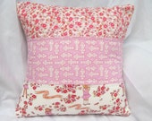Quilted patchwork pillow cover - Girls - 16 x 16 inches - Children decor - Children at play - Pink