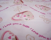I Love you a Latte - Coffee Themed Fabric - 1 yard Cotton Fabric