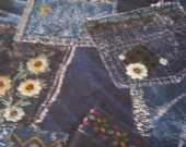 Denim, Jeans, Cotton Fabric - 1 piece 18 x 28