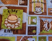 Coffee Squares, Cappucino, Coffee Cups Themed Fabric - 1 yard