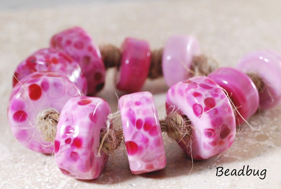 Pink Candy Tyres - Handmade Lampwork Glass Beads -  Pink Tyre/Donut Glass Bead Set - SRA
