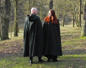 Legendary Forest Green or Brown Pointed Hood Fleece Cloak / Cape - Small, Medium, Large, XL or XXL with black, brown or green  inner hood