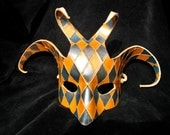 Leather Harlequin Mask (half-face, scrolled, cut, hand-painted in blue & yellow)