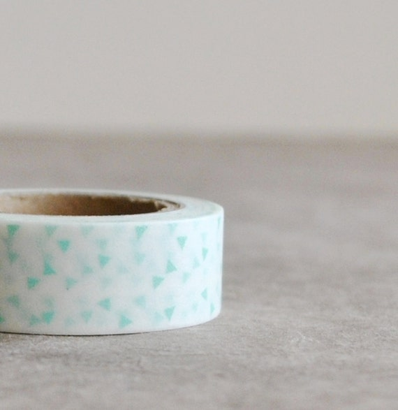 washi tape - white with mint green triangle
