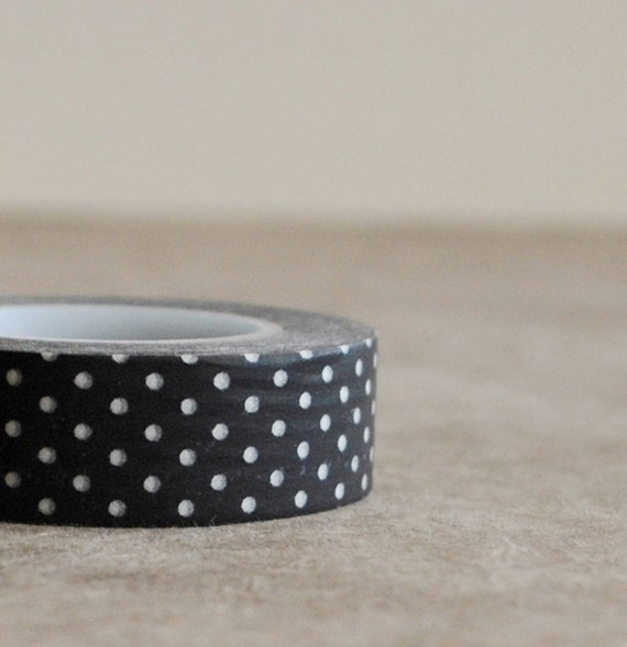 washi tape- black with white dots
