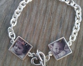 Photo Bracelet, Double Photo Link Bracelet, Mother's Day Gift One of a Kind