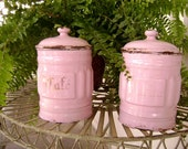French Enamel Canisters - Pair - Pink with Gold Letters, 'Cafe' and 'Farine' - An Etsy Treasure