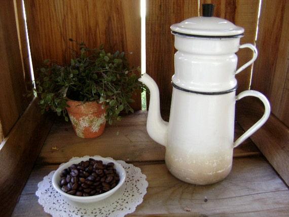 RARE Vintage 'FRENCH Press' - Enamel 4 Piece Coffee Maker - Etsy Treasure x 12