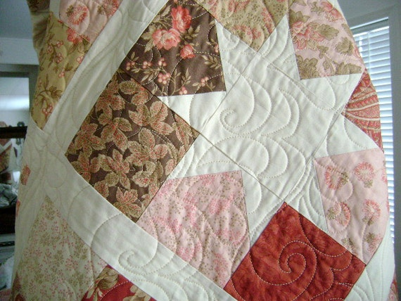 SALE - Charming Stars - Queen Size Quilt - 'Astor Manor' by 3 Sister's - Etsy Treasure x 6