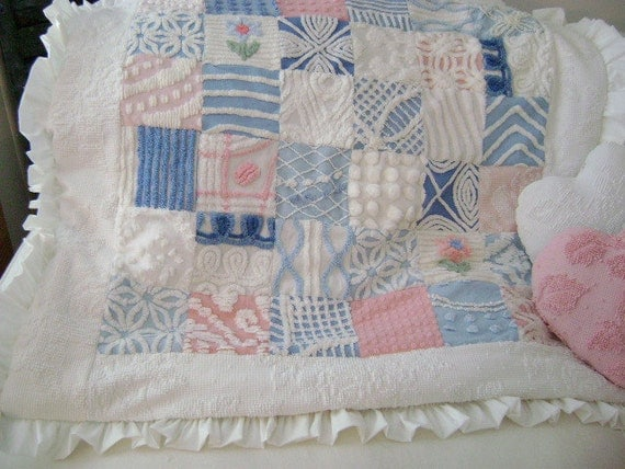 Vintage Chenille - PLUSH Pink, Blue & White, Vintage Chenille Quilt / Chair / Sofa /Throw / Baby / Crib - Etsy Treasure x 4