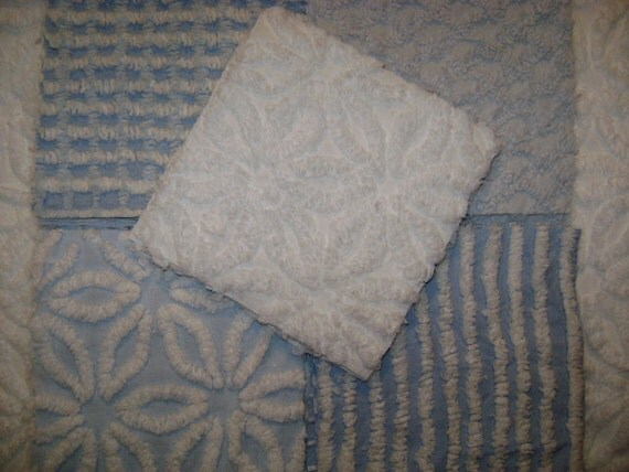 "Blue and White Collection, 25 - 6"" Squares of Vintage Chenille Fabric - Super Plush"