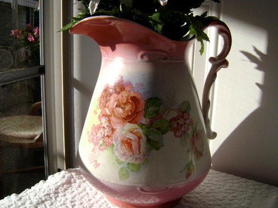 Shabby AND Chic - Vintage Floral Pitcher / Vase - Pink Roses