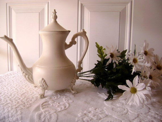 Shabby Chic 'Up-cycled' Silver Plate Coffee Pot / Vase / Paris Apartment Decor- Etsy Treasure
