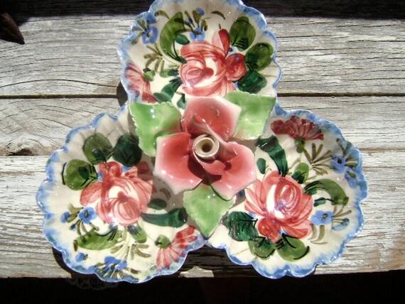 Italian Porcelain Relish Dish - Beautiful Roses - Made in Italy - Tuscan Decor