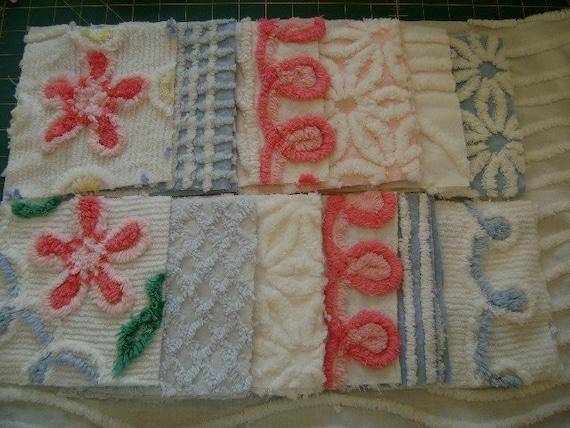 "Vintage Chenille - Pink, White, Blue 6"" Squares - Quilt Starter Kit - Crafting - Pillows"