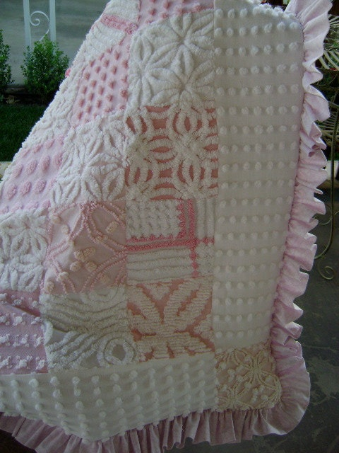 Sale Pink Princess Baby Quilt With Vintage Chenille And