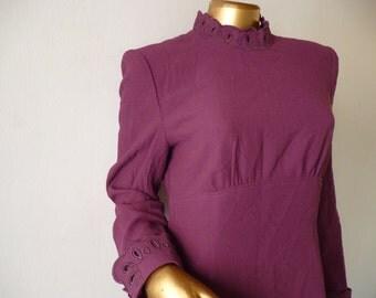 50% OFF Oscar de la Renta dress wool purple, 80s