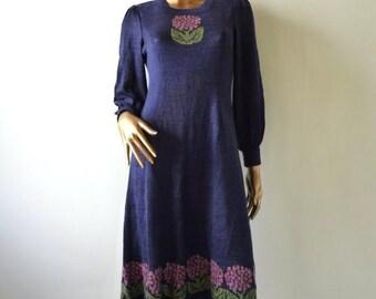Lurex knit dress with flower motif, 80's reduced.