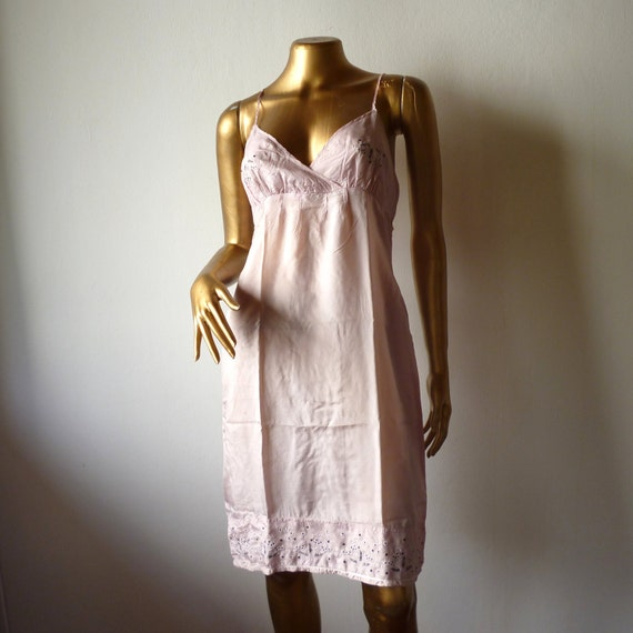 RESERVED Pink silk slip with embroidery.