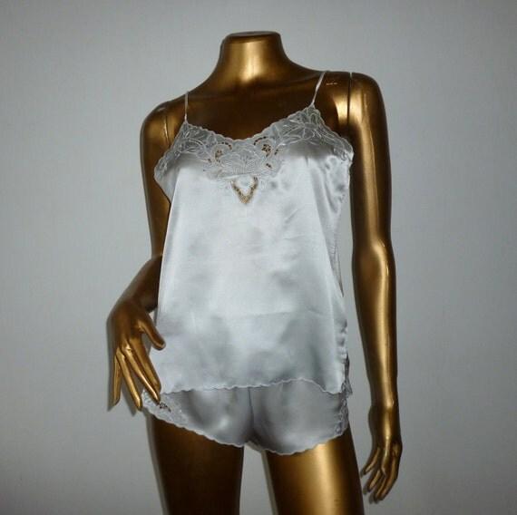 Silk pajama set with embroidery, M.