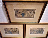 Antique Victorian Framed Fashion Engravings Set of 3