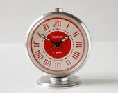 Vintage Alarm Clock Green, Red Colors from Soviet Era