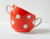 Vintage polka dot cups, red and white, Soviet Era