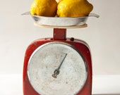 Vintage Kitchen Scale, red, silver, Soviet time