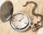 Mens pocket watch Molnija, vintage pocket watch from Russia, silver tone bird