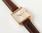 Vintage womens wrist watch Zarja, gold plated, brown leather, rare, Soviet Era