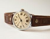Vintage mechanical watch, mens wrist watch Raketa, brown tones, Soviet Era