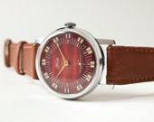 Vintage unisex wrist watch ZIM, brown, brick red tones, Soviet Era