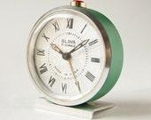 Vintage Alarm Clock, Mint Green tone, Soviet Era