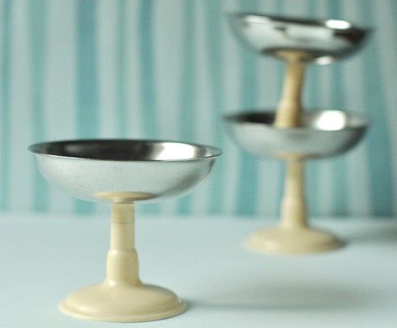 RESERVED Vintage Ice Cream Dishes, Three Dessert Dishes, silver, ivory colors, Soviet Era
