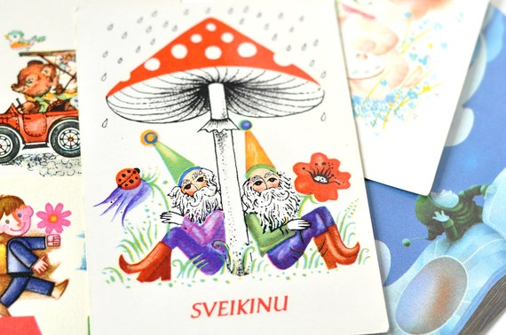 Vintage festive mood postcards, Teddy bear, children, Smurfs,  Soviet postcards blank