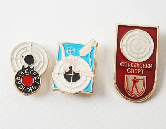 Vintage Archery Targets and Arrow pins, red, white, turquoise pins, Soviet Era