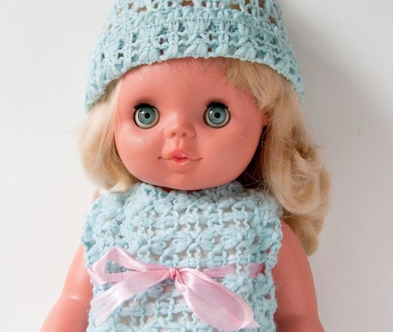 RESERVED Vintage girls baby doll with box, unused, blue dress doll, 1968 from Germany
