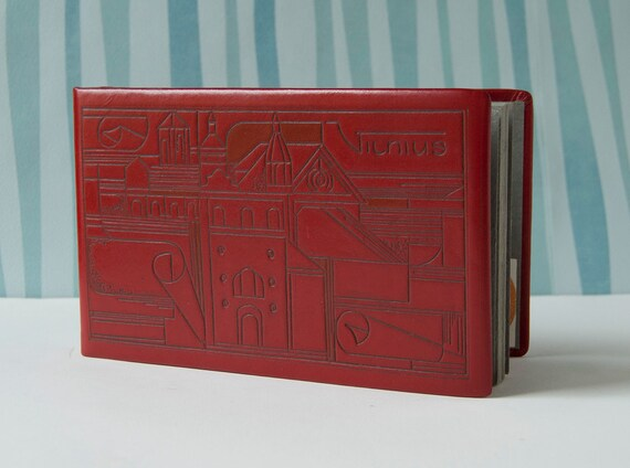 Vintage Leather Bound Photo Album Red, Unused, Soviet Era