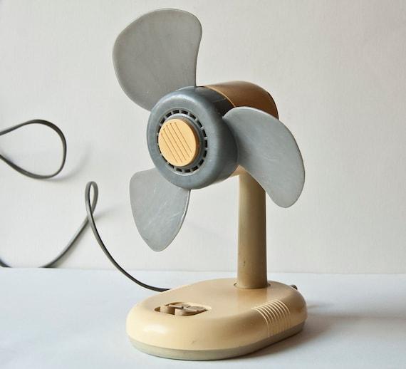 Vintage electric fan little, tabletop desk fan, ventilator, Soviet era