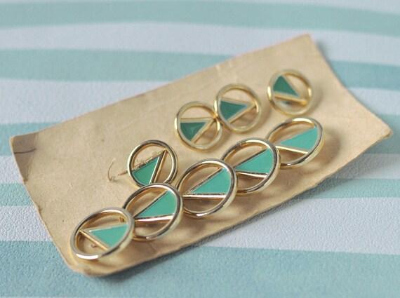 Vintage enamel metal buttons, green, gold, Soviet Era