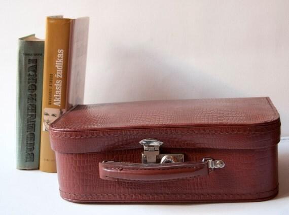 Vintage suitcase, brown case, school briefcase, 50s, USSR